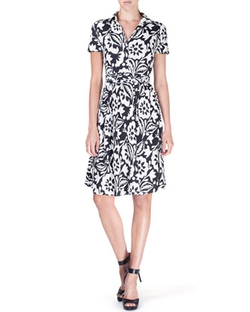 Short-Sleeve Floral-Print Wrap-Front Dress by Etro in Elementary