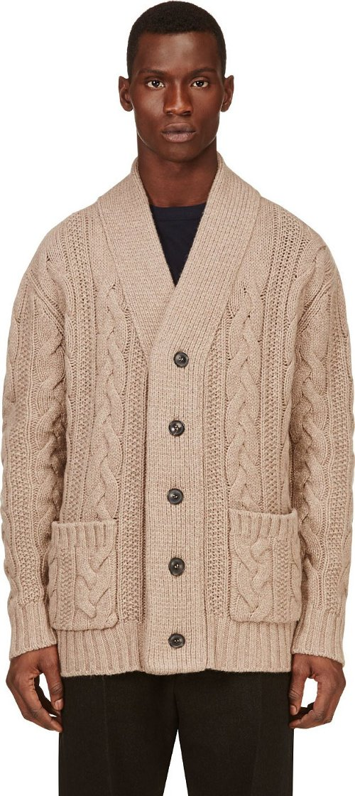 Brown Cable Knit Cardigan by Umit Benan in That Awkward Moment