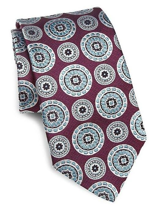 Medallion Print Silk Tie by Ike Behar in Suits - Season 5 Episode 4