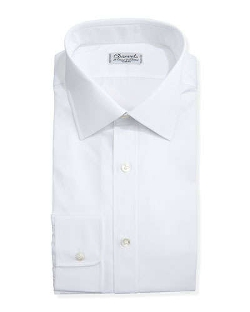 Solid Poplin Dress Shirt by Charvet in Spy