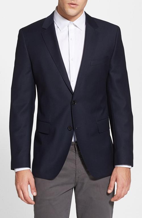 'James' Trim Fit Navy Wool Blazer by Hugo Boss in Unbroken