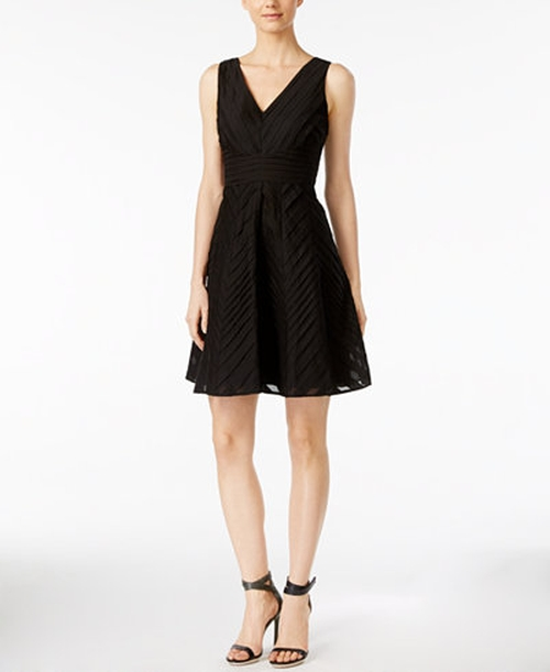 Sleeveless V-Neck Fit & Flare Dress by Calvin Klein in Office Christmas Party