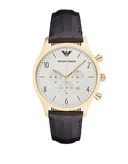 Stainless Steel Leather Strap Watch by Emporio Armani in Master of None