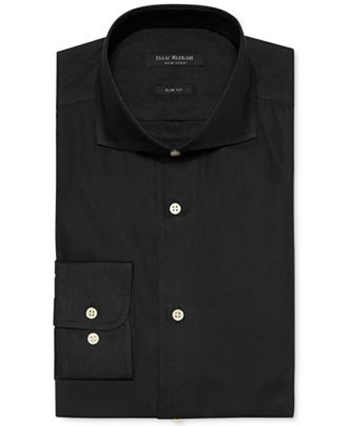 Slim-fit Pique Dobby Solid Dress Shirt by Isaac Mizrahi in Blackhat