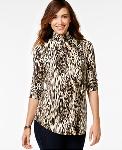 Jm Collection Animal-Print Turtleneck Top by Macy's in The Good Wife