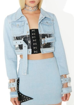 Replicant Clear Paneled Denim Jacket by Dolls Kill in Empire