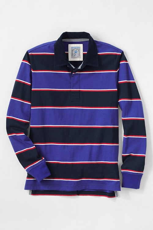 Corduroy Collar Stripe Rugby Polo Shirt by Lans' End in Cabin in the Woods