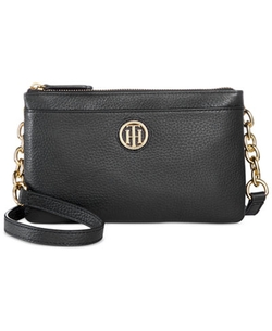 Double Zipper Pebble Leather Crossbody Bag by Tommy Hilfiger in Bleed for This