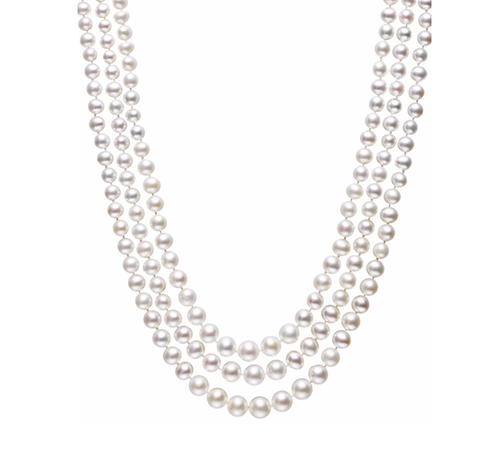 Freshwater Pearl Three-Strand Necklace by Belle de Mer in The Boss
