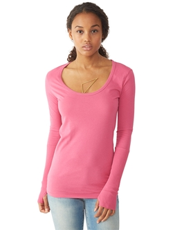 Rib Sleeve Scoop Neck T-Shirt by Alternative in Barely Lethal
