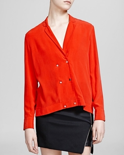 Silk Crepe de Chine Shirt by The Kooples in Arrow