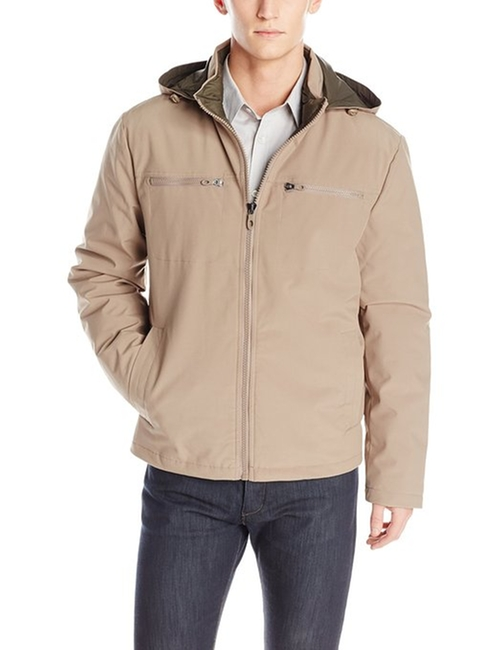 Men's Soft-Shell Moto Jacket With Quilted Lining by Kenneth Cole in Ashby