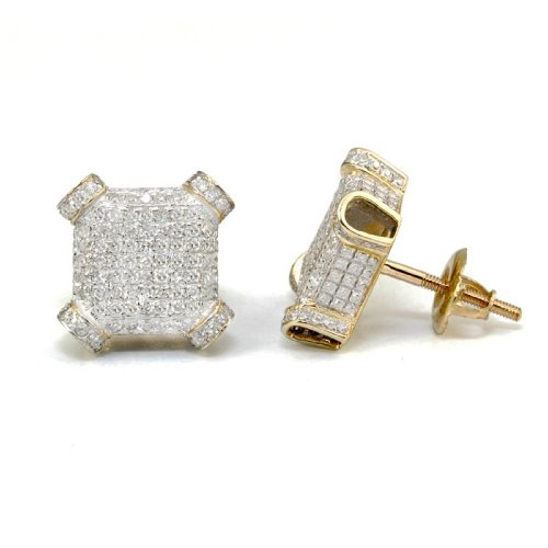 Diamond Square Cube Plain Stud Earrings by MyDiaLand in Entourage