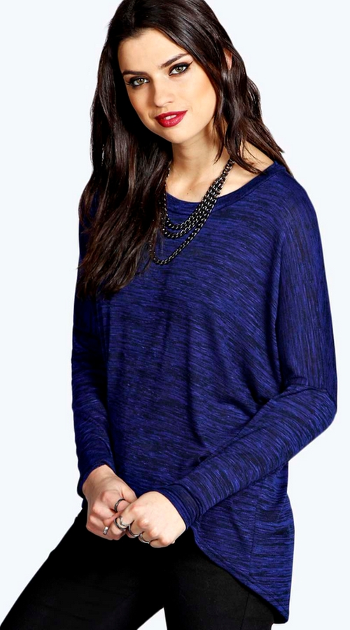 Holly Oversized Long Sleeve Slub Knit T-Shirt by Boohoo Blue in Jem and the Holograms