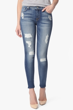 Distressed Authentic Light Ankle Skinny Jeans by 7 For All Mankind in Pretty Little Liars