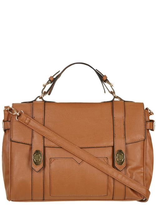 Tan Twistlock Satchel Bag by Dorothy Perkins in What If