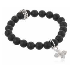 """Cross"" Onyx Bead Bracelet by King Baby  in Chelsea"