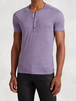 Linen Henley Shirt by John Varvatos in Arrow