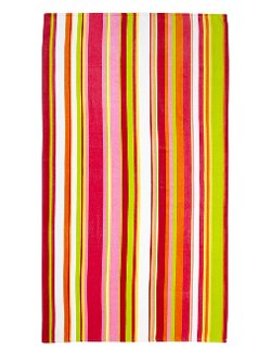 Watercolor Stripes Velour Beach Towel by Bahia Collection By Dohler in Black or White