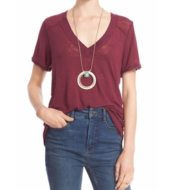 'Pearls' Raw Edge V-Neck Tee by Free People in Pretty Little Liars