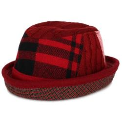 Plaid Wool Foldable Upturn Curl Bowler Fedora by Ililily in The Expendables 3