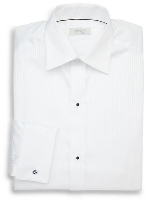 Contemporary-Fit Tonal Stripe Formal Dress Shirt by Eton of Sweden in Burn After Reading