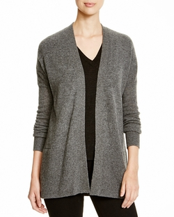Cashmere Rib Trim Open Cardigan by Aqua Cashmere in Supergirl