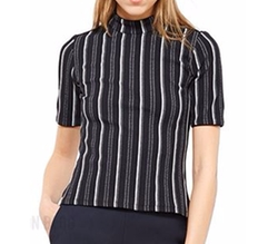 Striped Mock Neck Crepe Top by Opening Ceremony in Arrow