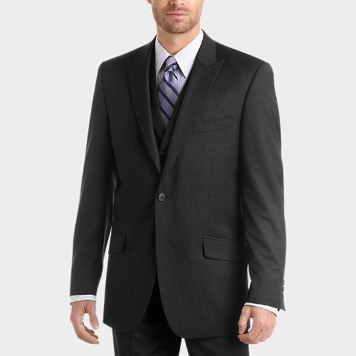Black Check Vested Slim Fit Suit by English Laundry in Anchorman 2: The Legend Continues