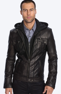 Men's Black 'Los Angeles' Trim Fit Leather Moto Jacket by 7 Diamonds in Jack Reacher