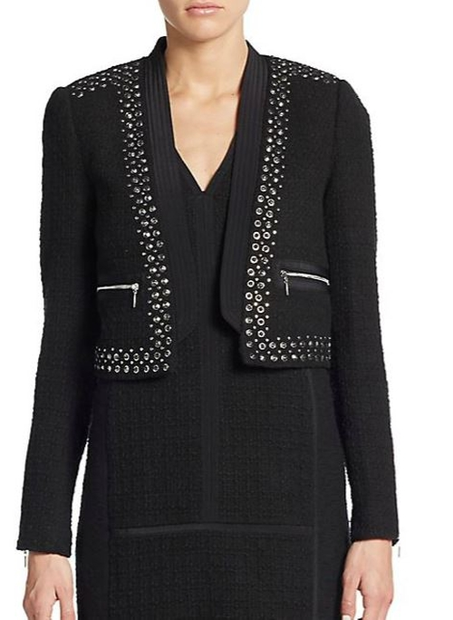 Studded Cropped Jacket by Rebecca Taylor in The Mindy Project - Season 4 Episode 8