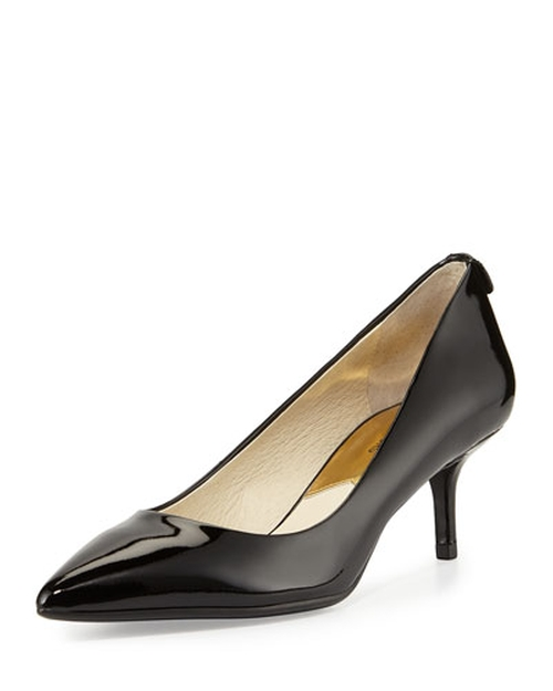 MK-Flex Flex Patent Kitten-Heel Pump Shoes by Michael Michael Kors in Fifty Shades of Black
