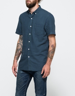 Short Sleeve Navy Gingham by Topman in Modern Family
