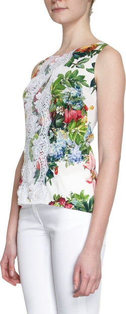 Lace Overlay Panel Floral Print Top by Dolce and Gabbana in Focus