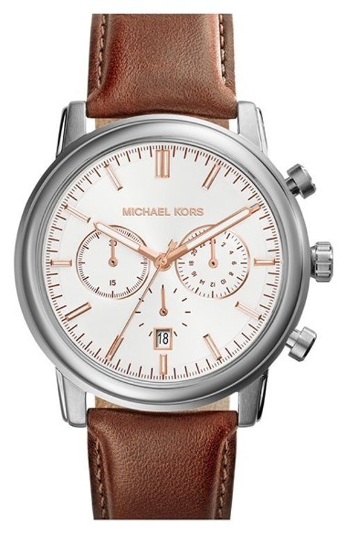 Pennant Chronograph Leather Strap Watch by Michael Kors in Black or White