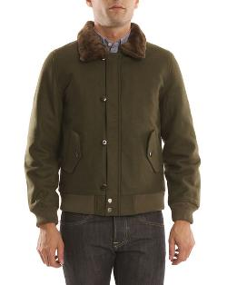 Khaki Woollen Jacket With Removable Collar by Hartford in Ride Along