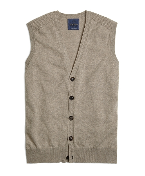 Cream Cashmere Button-Front Vest by Brooks Brothers in Fantastic Four