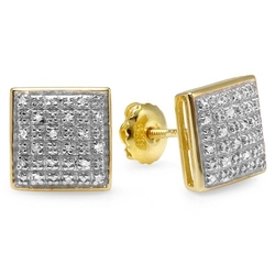 Diamond Square Shape Iced Stud Earrings by DazzlingRock Collection in Ballers