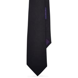 Solid Silk Repp Tie by Ralph Lauren in Black Mass