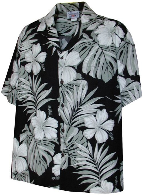 Monstera Leaf Hibiscus Floral Men's Hawaiian Shirts by Pacific Legend in Couple's Retreat
