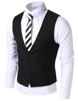 Mens 4 Button Slim Vest by Doublju in The Best of Me