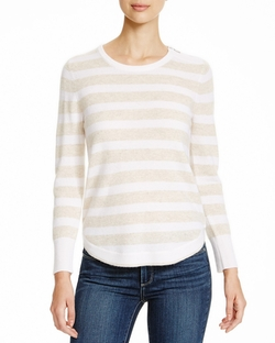 Cashmere Stripe Zip Shoulder Sweater by Aqua in Black-ish