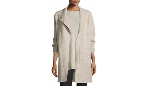 Boiled Wool Funnel-Neck Coat by Eileen Fisher in Miss Sloane