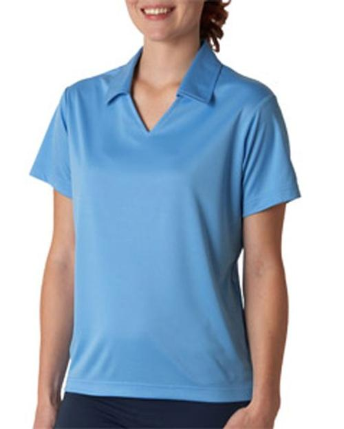Women's V-Neck Collar Sport Polo Shirt by UltraClub in Couple's Retreat