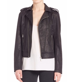 Leather Effect Biker Jacket by The Kooples in The Fate of the Furious