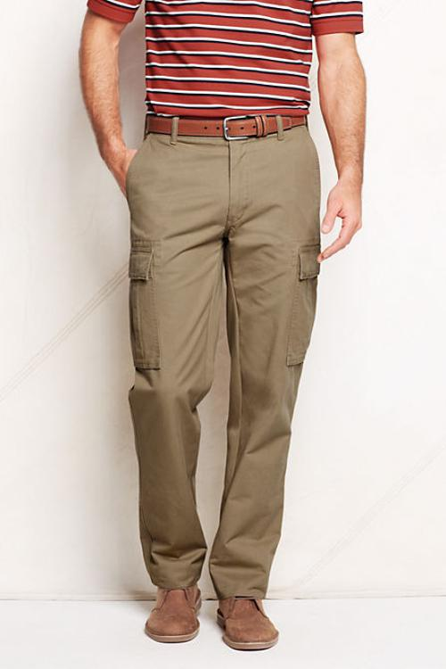 Men's Traditional Fit Cargo Pants by Lands' End in Wish I Was Here