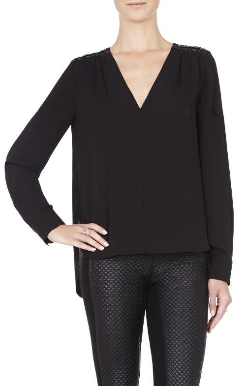 Cassidee V-Neck Embellished Shoulder Blouse by BCBGMAXAZRIA in The Gift