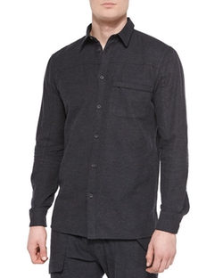 Front Yoke Button-Down Flannel Shirt by Helmut Lang in The Flash