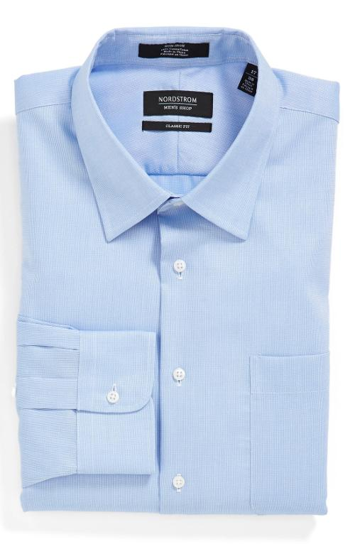 Classic Fit Non-Iron Piqué Dress Shirt by Nordstrom in Ride Along