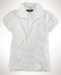 Little Girls Mesh Polo Shirt by Ralph Lauren in Black or White